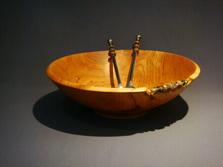 Jennifer McKinnon & Beth Grant - Beads in Bowl, Wood & Glass Beads